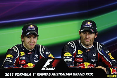 Sebastian Vettel, and Mark Webber, Red Bull Racing, qualifying, Australian GP, Albert Park, Melbourne. Saturday 26 March 2011.
