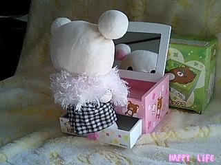 ミラー付きウッドボックス★ピンク★-2
