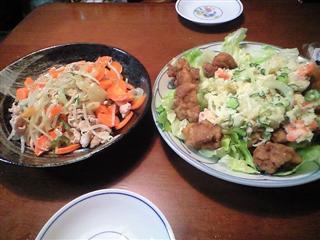 野菜炒め&ポテサラ