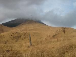 雲で見えない由布岳