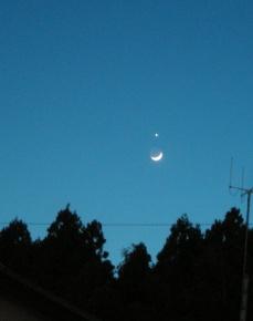 二日月と金星