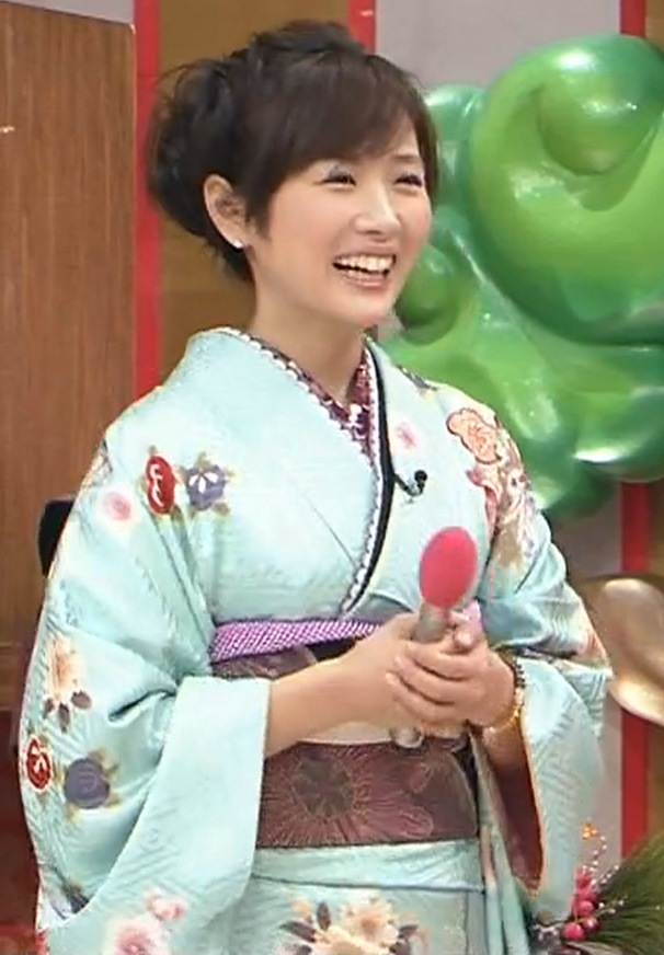 高島彩 水色の振袖キャプ画像(エロ・アイコラ画像)