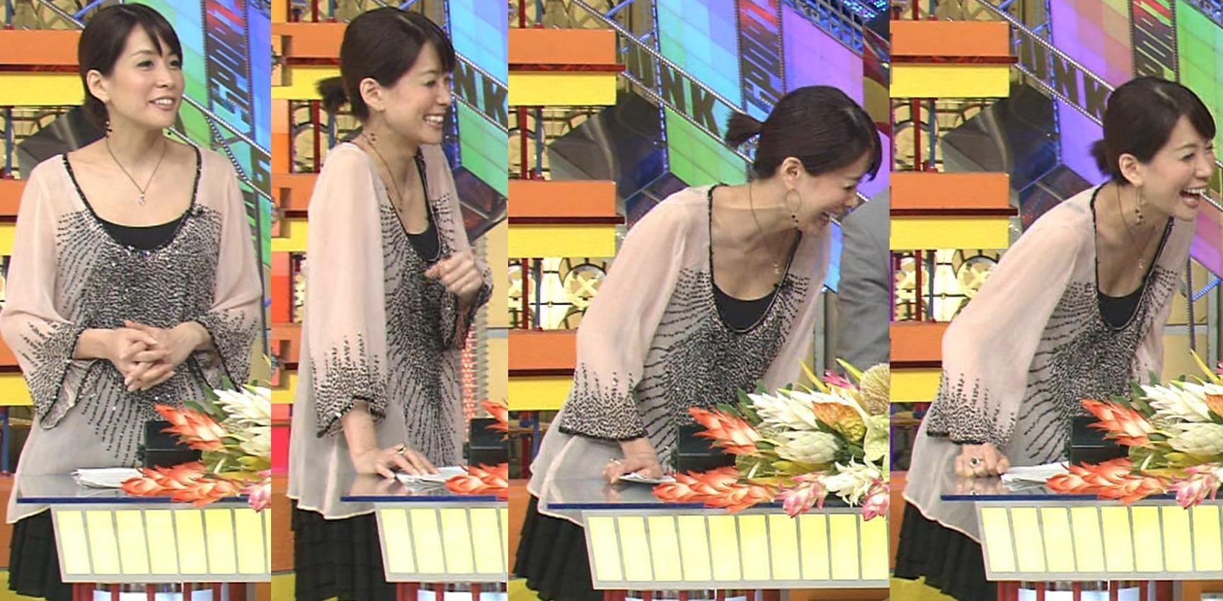 内田恭子 胸元が大きく開いた服で胸チラキャプ画像(エロ・アイコラ画像)