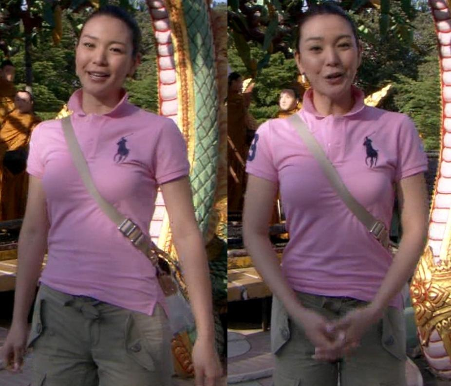 知花くらら 巨乳×ポロシャツ=エロいキャプ画像(エロ・アイコラ画像)