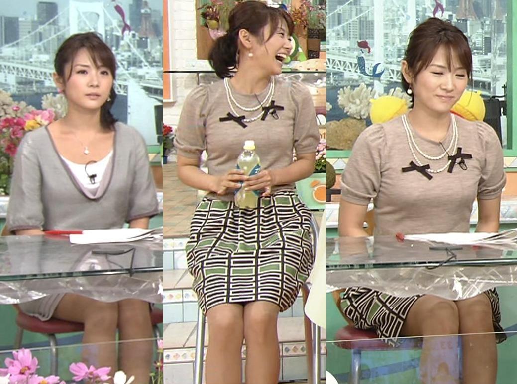 高島彩 机の下のミニスカート特集とおっぱいぴったり服キャプ画像(エロ・アイコラ画像)
