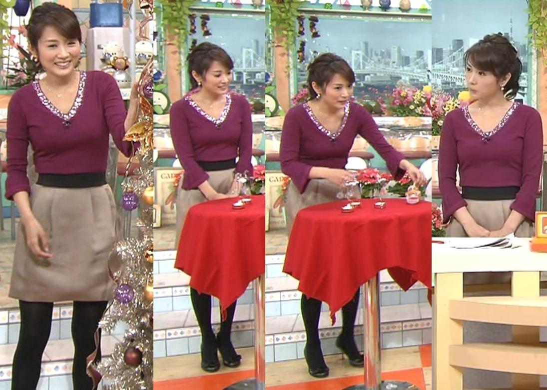 高島彩 おっぱい強調服 タイトな紫の服キャプ画像(エロ・アイコラ画像)