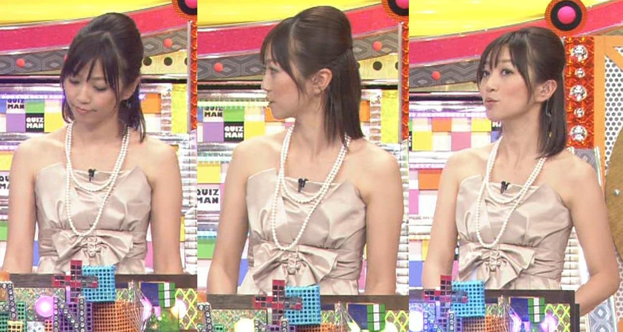 久保田智子 両肩が露出したセクシードレスキャプ画像(エロ・アイコラ画像)