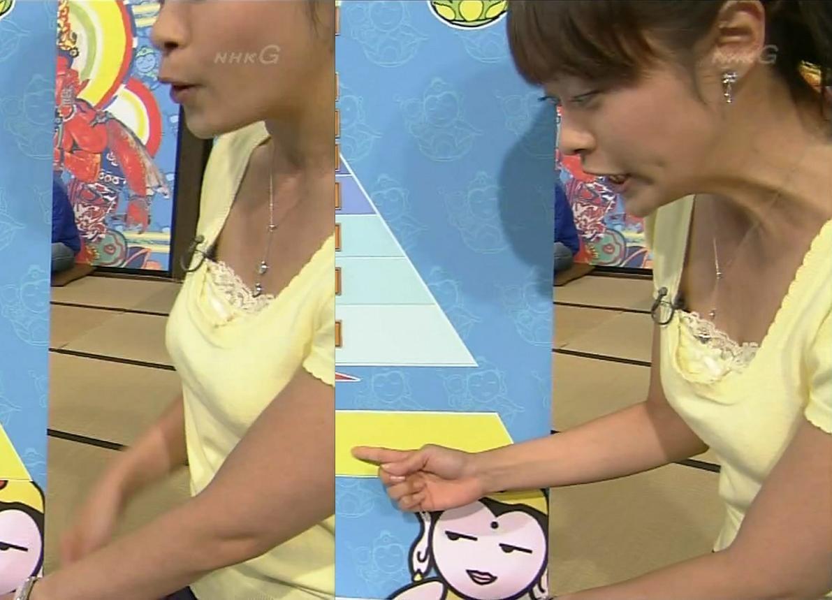 片山千恵子 服の隙間からブラジャーキャプ画像(エロ・アイコラ画像)